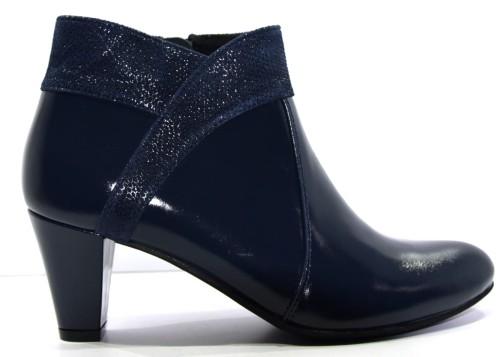 Obuwie damskie zimowe botek modne buty skórzane polskie Krystad granat vera