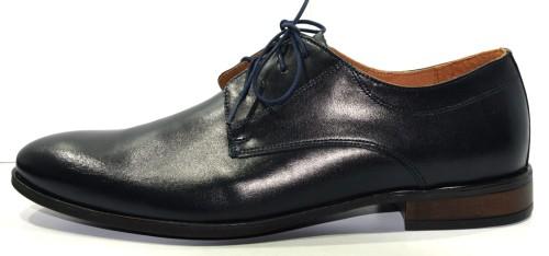 e341f0375b2d1 Obuwie męskie półbuty modne polskie buty skórzane Agda granat 672/1 ...