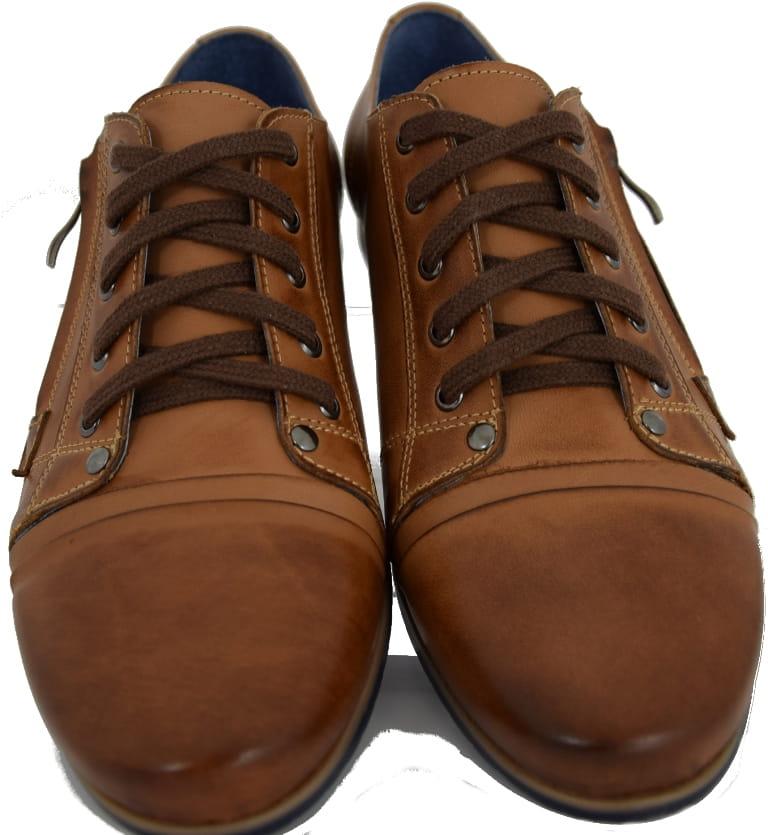 Buty męskie półbuty na co dzień obuwie sportowe skórzane beżowe modne polskie HIT Moskała SP 27